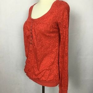 FREE PEOPLE Woman's Top Size XS Orange Eyelet